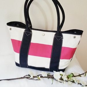 J Crew Striped Canvas Mid-Size Tote Bag; Navy/Pink